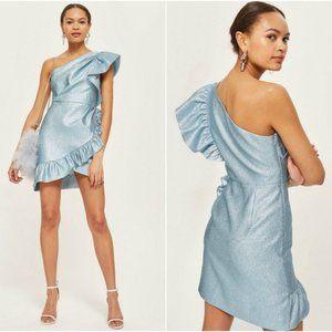 Topshop One Shoulder Ruffle Mini Dress, Size 10